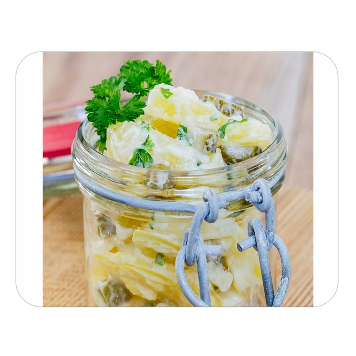 Potato salad in a jar on wooden Double Sided Flano Blanket (Large)