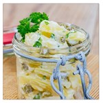Potato salad in a jar on wooden Large Satin Scarf (Square) Front