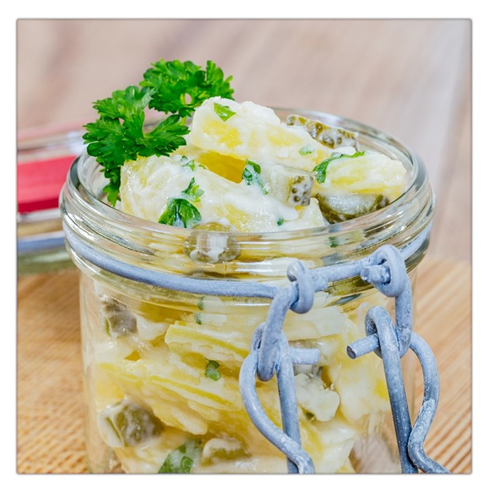 Potato salad in a jar on wooden Large Satin Scarf (Square)