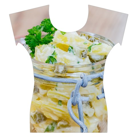 Potato salad in a jar on wooden Women s Cap Sleeve Top