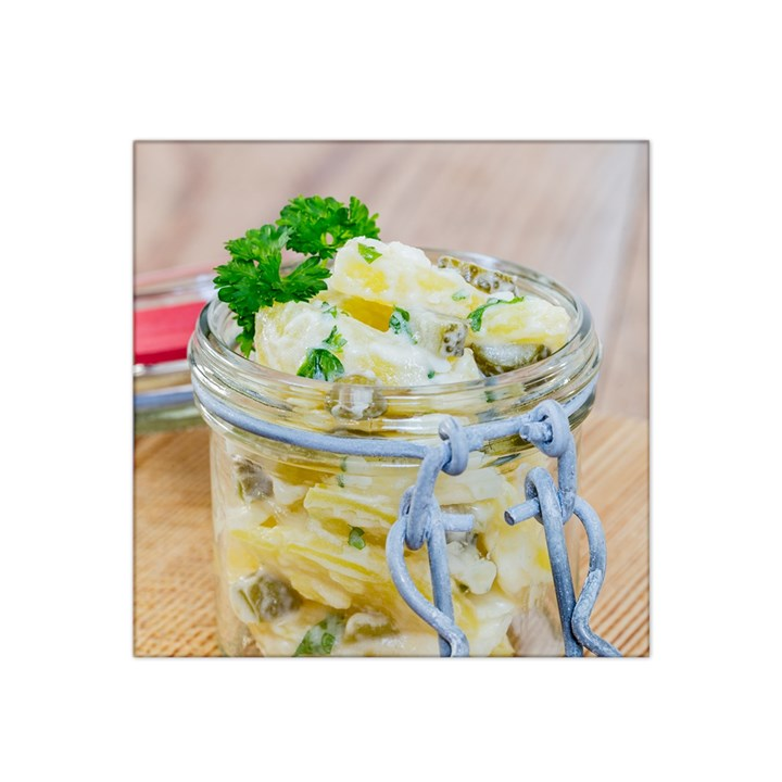 Potato salad in a jar on wooden Satin Bandana Scarf