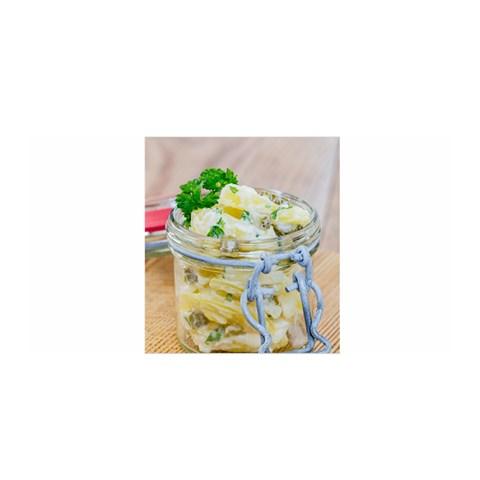 Potato salad in a jar on wooden Satin Wrap