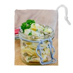 Potato salad in a jar on wooden Drawstring Pouches (Extra Large) Front