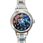Pierce The Veil Quote Galaxy Nebula Round Italian Charm Watch Front