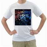 Pierce The Veil Quote Galaxy Nebula Men s T-Shirt (White) (Two Sided) Front