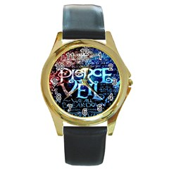 Pierce The Veil Quote Galaxy Nebula Round Gold Metal Watch