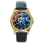 Pierce The Veil Quote Galaxy Nebula Round Gold Metal Watch Front