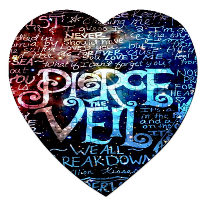 Pierce The Veil Quote Galaxy Nebula Jigsaw Puzzle (Heart)