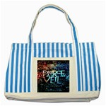 Pierce The Veil Quote Galaxy Nebula Striped Blue Tote Bag Front