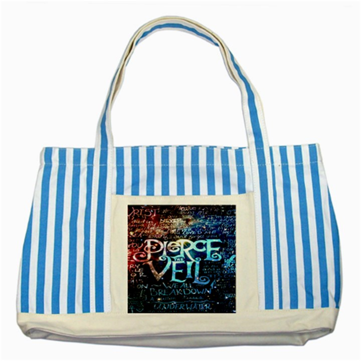 Pierce The Veil Quote Galaxy Nebula Striped Blue Tote Bag