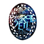 Pierce The Veil Quote Galaxy Nebula Oval Filigree Ornament (2-Side)  Front