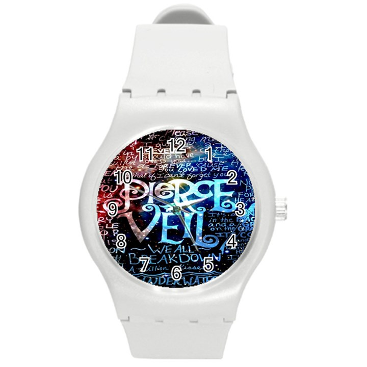 Pierce The Veil Quote Galaxy Nebula Round Plastic Sport Watch (M)