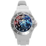Pierce The Veil Quote Galaxy Nebula Round Plastic Sport Watch (L) Front