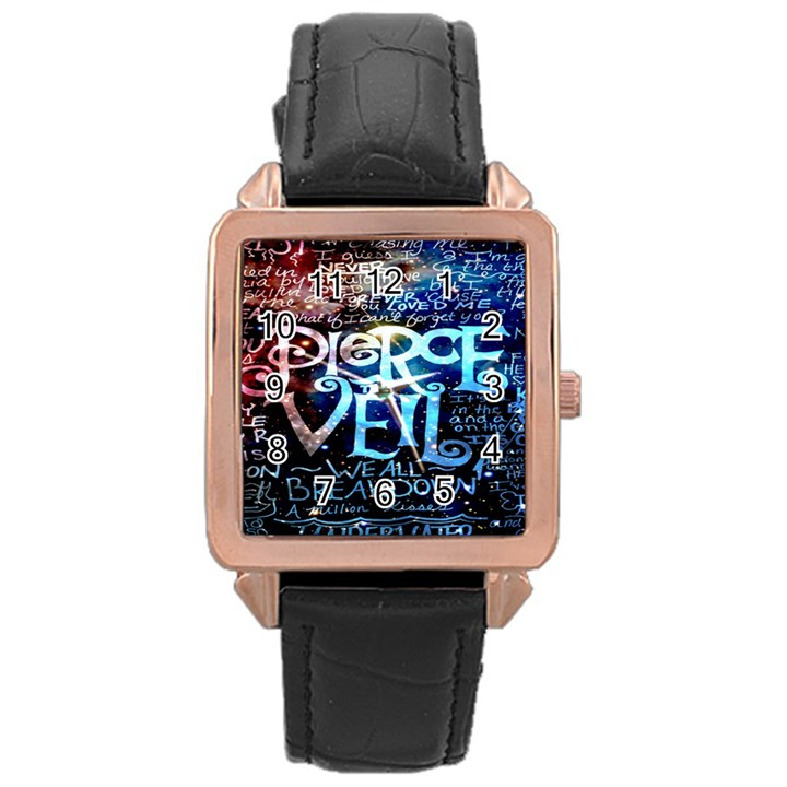 Pierce The Veil Quote Galaxy Nebula Rose Gold Leather Watch