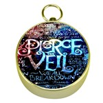Pierce The Veil Quote Galaxy Nebula Gold Compasses Front