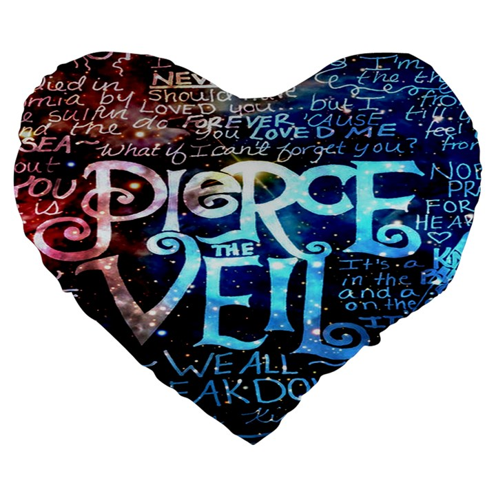 Pierce The Veil Quote Galaxy Nebula Large 19  Premium Flano Heart Shape Cushions