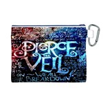 Pierce The Veil Quote Galaxy Nebula Canvas Cosmetic Bag (L) Back
