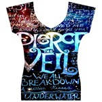 Pierce The Veil Quote Galaxy Nebula Women s V-Neck Cap Sleeve Top Front