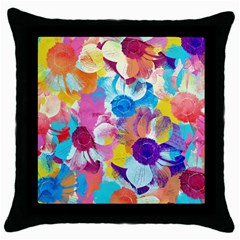 Anemones Throw Pillow Case (Black)