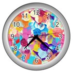 Anemones Wall Clocks (Silver)  Front