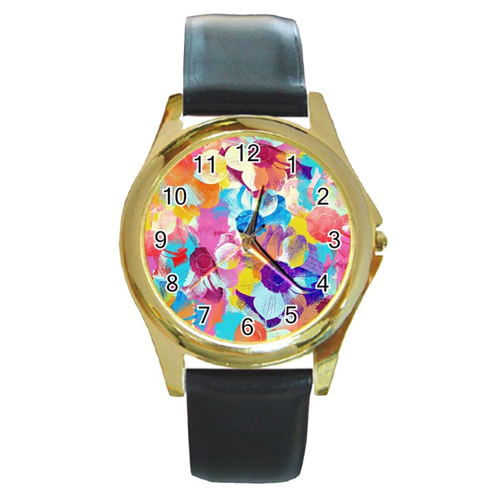 Anemones Round Gold Metal Watch