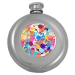 Anemones Round Hip Flask (5 oz) Front