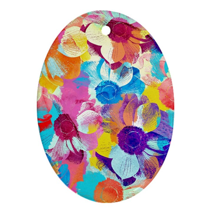 Anemones Oval Ornament (Two Sides)