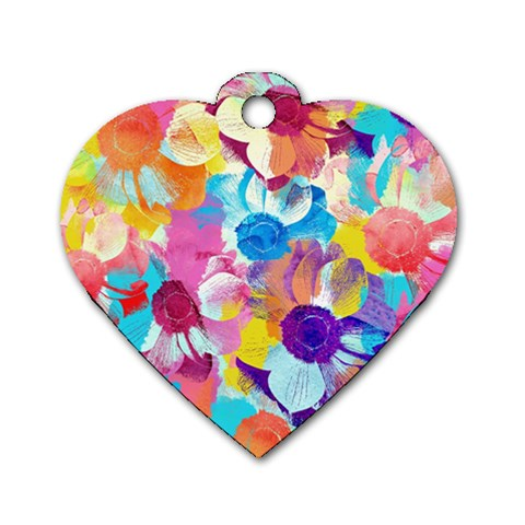 Anemones Dog Tag Heart (One Side)