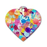 Anemones Dog Tag Heart (Two Sides) Front