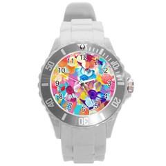 Anemones Round Plastic Sport Watch (L)