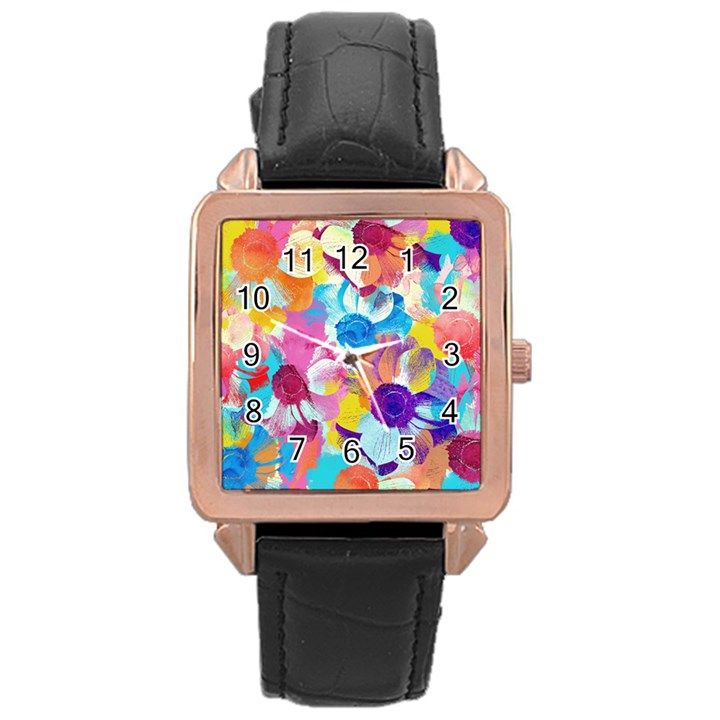 Anemones Rose Gold Leather Watch