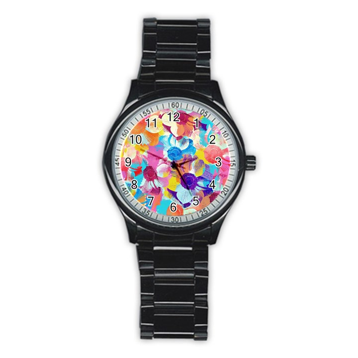 Anemones Stainless Steel Round Watch