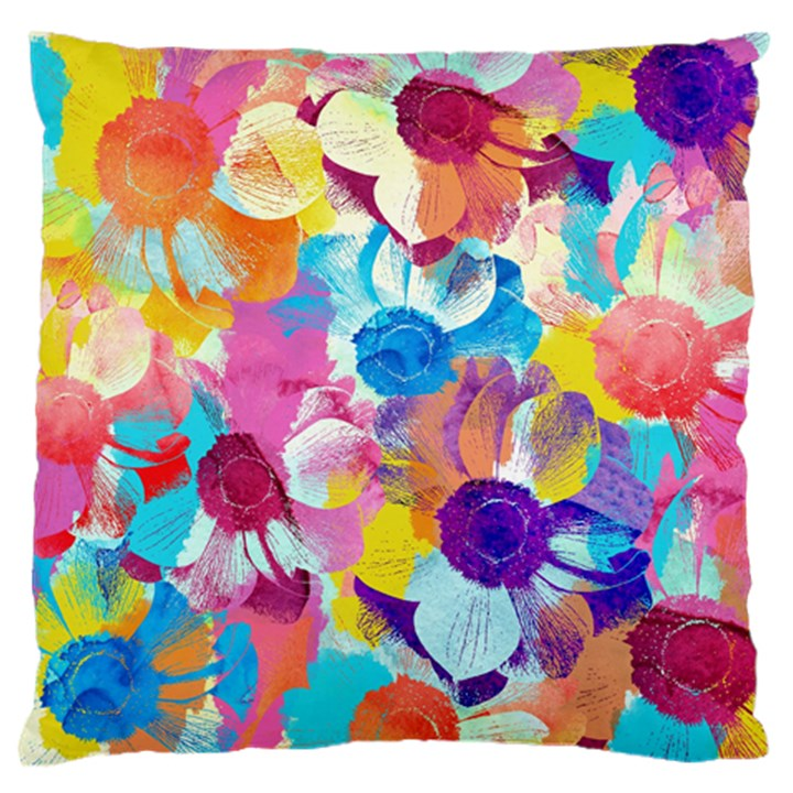 Anemones Large Flano Cushion Case (One Side)
