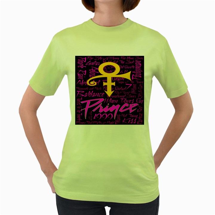 Prince Poster Women s Green T-Shirt