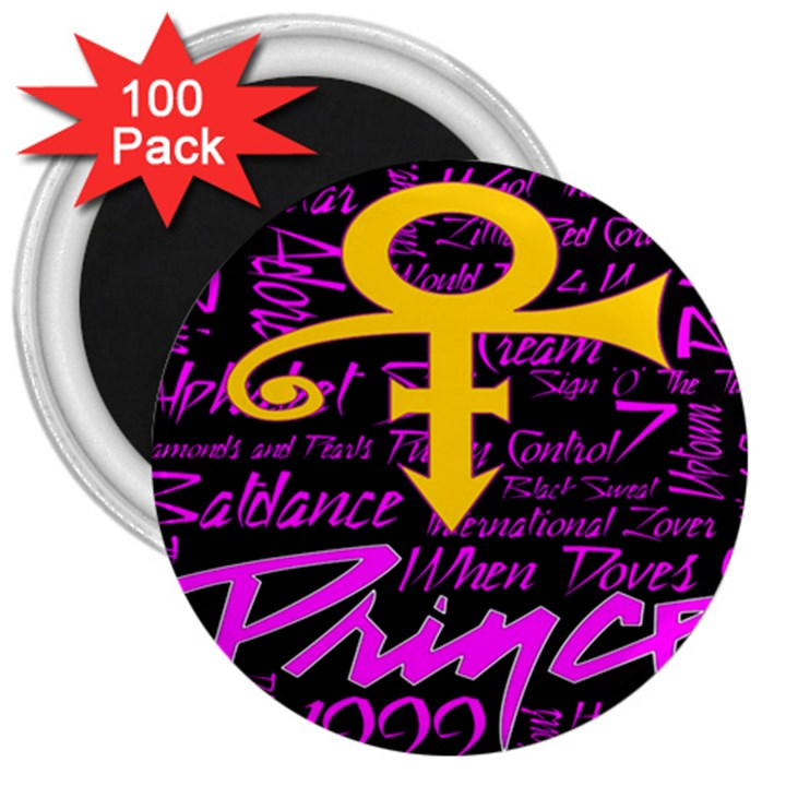 Prince Poster 3  Magnets (100 pack)