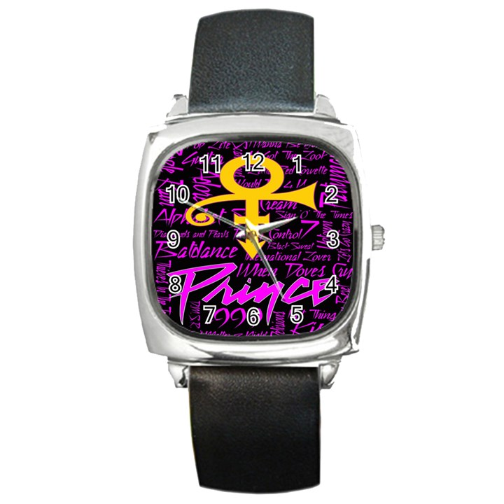 Prince Poster Square Metal Watch