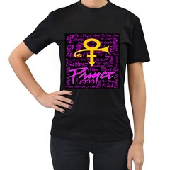 Prince Poster Women s T-Shirt (Black) (Two Sided)