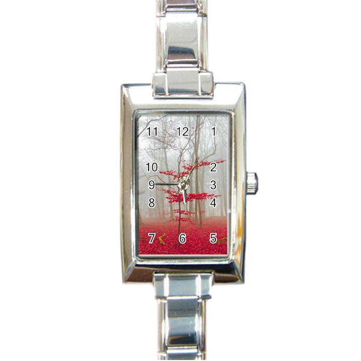 Magic forest in red and white Rectangle Italian Charm Watch