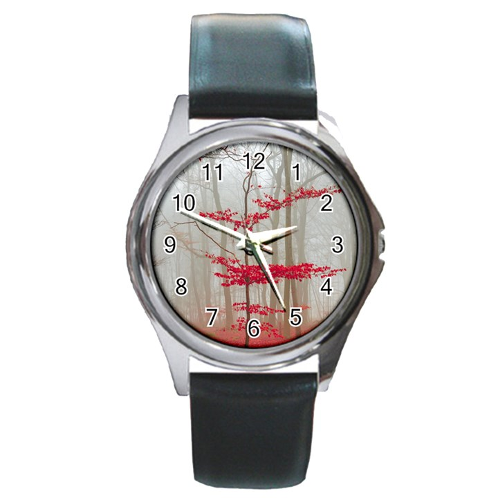 Magic forest in red and white Round Metal Watch