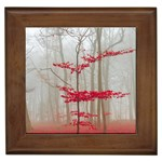 Magic forest in red and white Framed Tiles Front