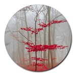 Magic forest in red and white Round Mousepads Front