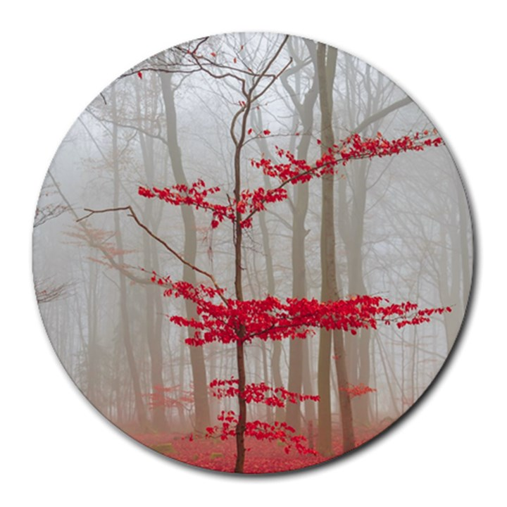 Magic forest in red and white Round Mousepads