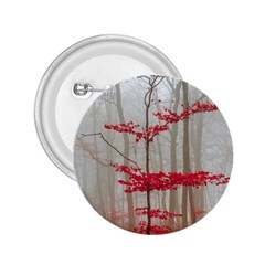 Magic Forest In Red And White 2 25  Buttons