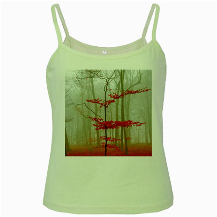 Magic forest in red and white Green Spaghetti Tank