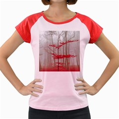 Magic forest in red and white Women s Cap Sleeve T-Shirt