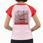 Magic forest in red and white Women s Cap Sleeve T-Shirt Back