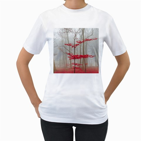 Magic forest in red and white Women s T-Shirt (White) (Two Sided)