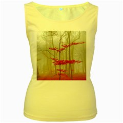 Magic forest in red and white Women s Yellow Tank Top