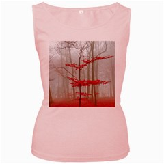 Magic forest in red and white Women s Pink Tank Top