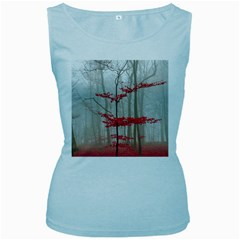 Magic Forest In Red And White Women s Baby Blue Tank Top